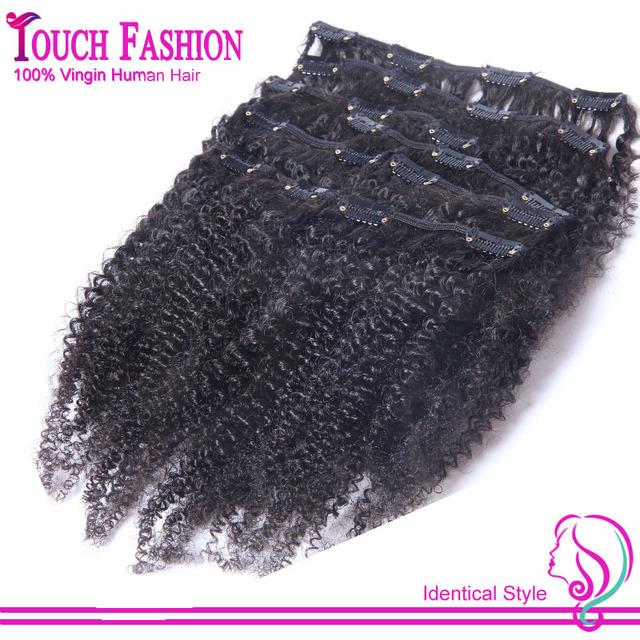 Nueva Llegada Afro Rizada Rizada Brasileña 100% Del Pelo Humano Clip Ins Clip Ins Extensiones Del Pelo Teje Natural Color Negro 7 unids/set