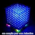 Nueva 3D8 mini cubeeds LED KIT DIY con excelentes animaciones/3D pantalla 8 8x8x8 pixe, divertido Kit DIY Electrónica/secundaria calidad