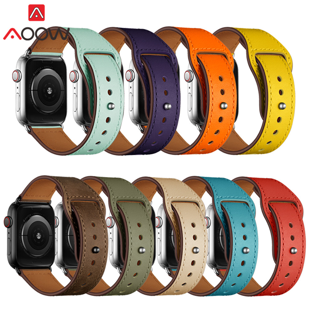 Genuine Leather Loop Watchband For Apple Watch 38mm 42mm 40mm 44mm Bracelet Strap Band Correa Accessories For Iwatch 1 2 3 4