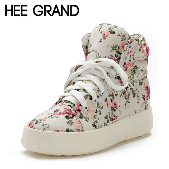HEE GRAND 2016 Women Boots Height Increasing Canvas Shoes Woman Floral Printed Flats New Platform Ankle Boots Size 35-39 XWD601