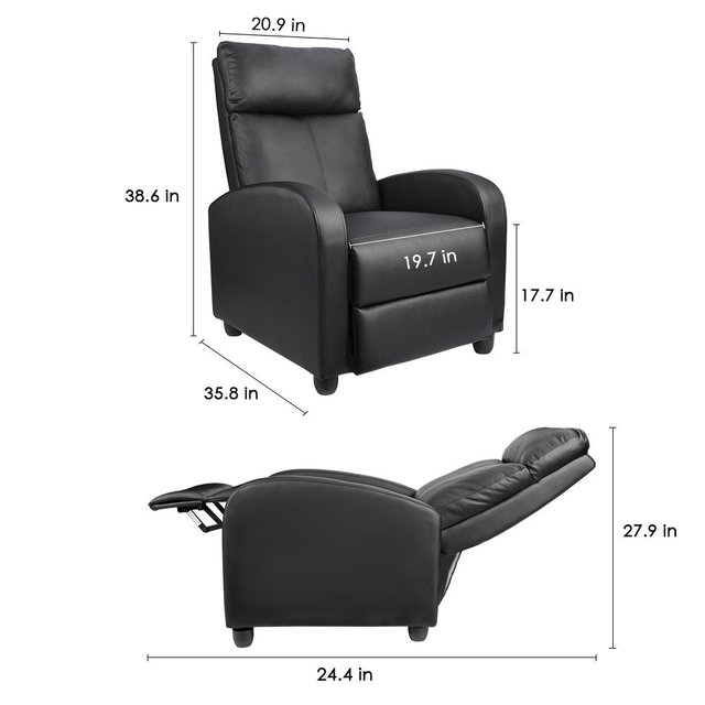 Homall Single Sofa Recliner Chair Padded Seat Black PU Leather ...