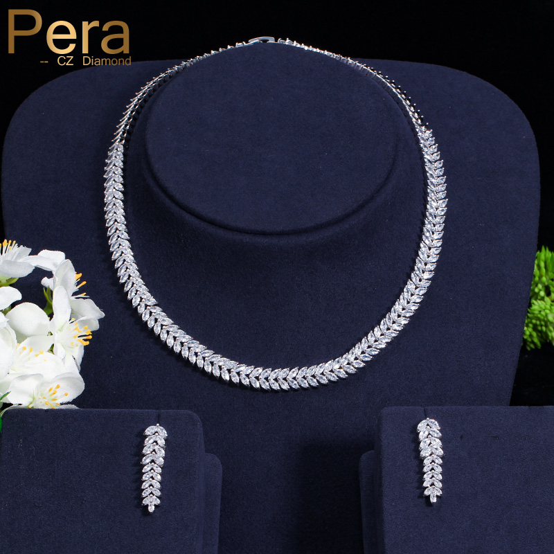 Pera Luxury Bridal Party Choker Necklace And Earrings Big Leaf-Shape Top Cubic Zirconia Wedding Jewelry Sets For Brides J225 delicate maple leaf shape rhinestone and faux pearl necklace and earrings for women