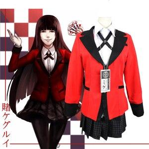 Image 3 - 7PCS Hot Cool Cosplay Costumes Anime Kakegurui Yumeko Jabami Japanese School Girls Uniform Full Set Halloween party cosplay wig