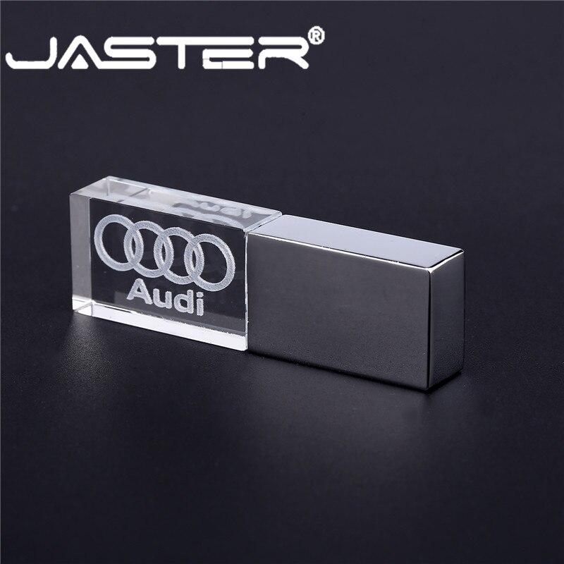 JASTER Audi Crystal + Metal USB 2.0 Flash Drive Pendrive 4GB 8GB 16GB 32GB 64GB 128GB External Storage Memory Stick U Disk