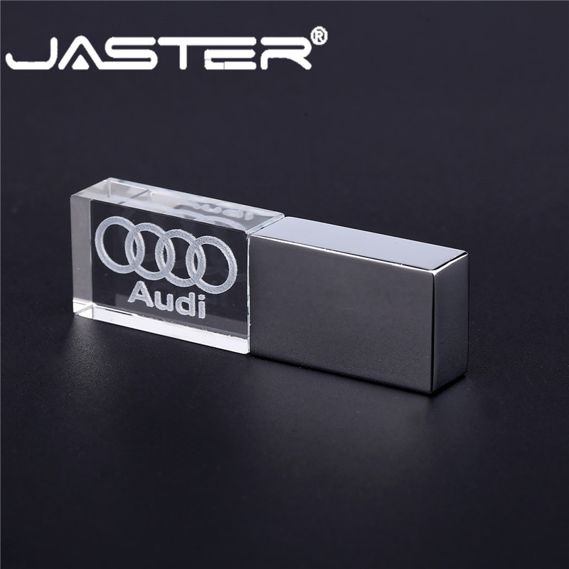 JASTER audi crystal + metal USB 2.0 flash drive pendrive 4GB 8GB 16GB 32GB 64GB 128GB External Storage memory stick u disk