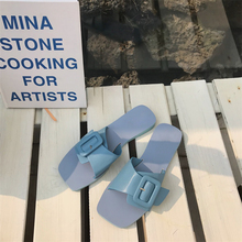 Women Beach Slippers Flip Flops Buckles Sandals Flat korean Slip On Casual Shoes