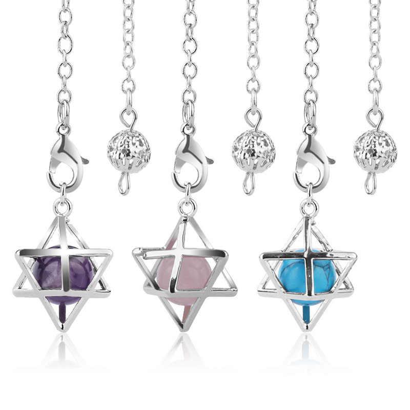 רייקי טבעי אבנים מרכבה כוכבים מטוטלת עבור ניחוש hexagramme קוורץ קריסטל Pendule ויקה ריפוי bijoux
