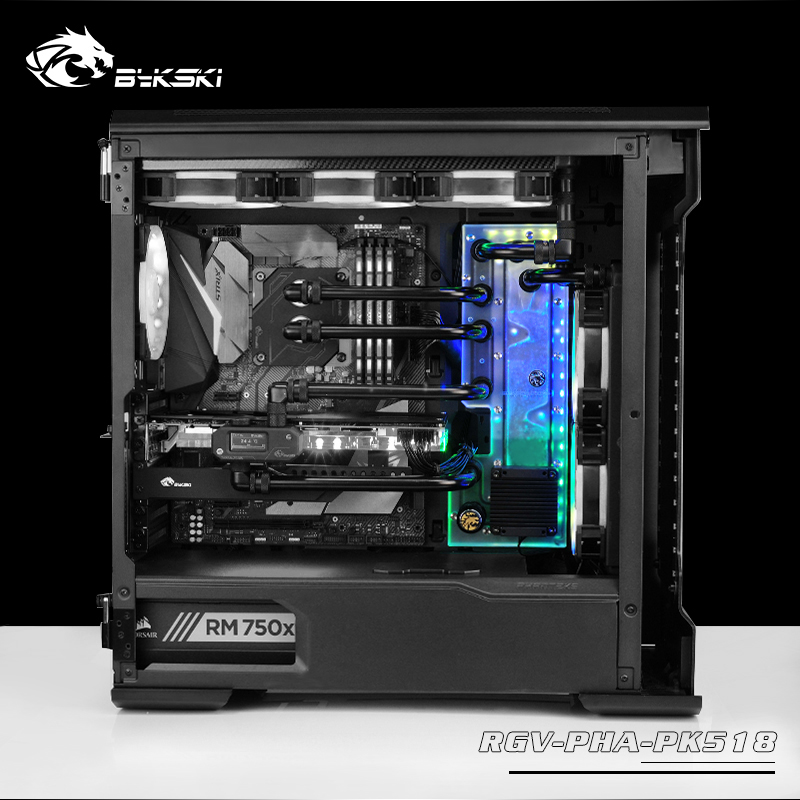 BYKSKI Acrylic Board Water Channel Solution Use For Phanteks PK518(Evolv X) Case / CPU GPU Block / 3PIN RGB / Acrylic Reservoir