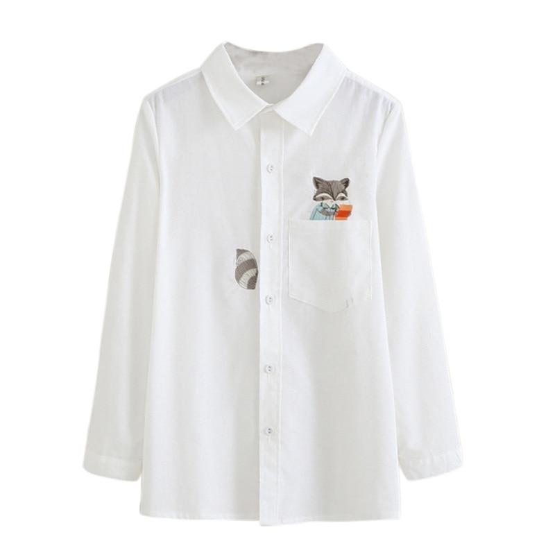Womens White Autumn Shirt Top Womens Blouse Long Sleeve Tops Bordado Womens Casual Blouse
