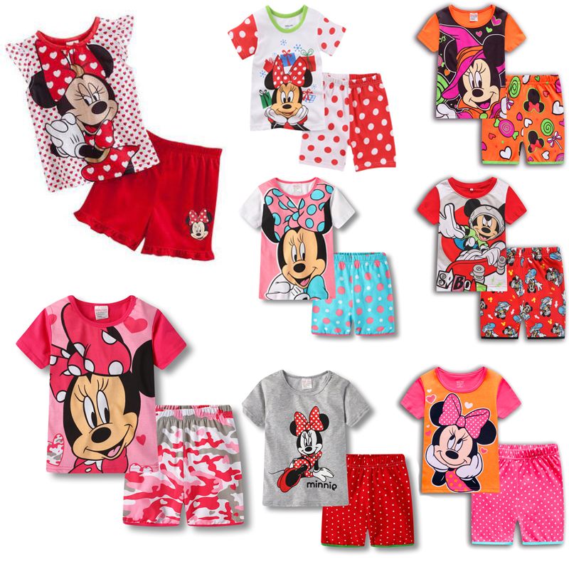 New Kids Boys Girls Clothes Baby Princess Pajamas Summer Short Sleeved Set Cartoon Mickey Minnie Mouse Children's Sleepwear