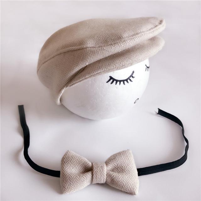 Newborn Baby Peaked Cap Baby Beanie Hat + Bow Tie 2pcs Set Infnat Photography Props Bebe Boy Peak Cap Formal Photo Accessories