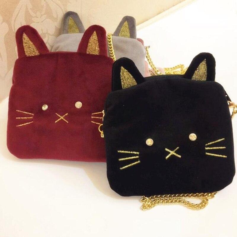 Crossbody-taschen Schlussverkauf M484 Nette Kreative Kind Umhängetasche Katze Strass Kinder Kette Tasche