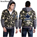 Popular Tide Camouflage Hoodies Coats Dallas Cowboys Logo Printed Casual Sweatshirts Tops Thicken Fleece Hooded Jacket
