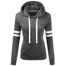 Sweatshirts Winter Women Hoodies Warm Women's Stripe Long Sleeve Hooded Pocket Pullover Tops Sweatshirt цены онлайн