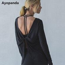 Ayopanda Open Back Yoga Shirts Women Sophie Long Sleeve Gym Sports Tank Top Loose Reverse Drape Activewear Exercise T-shirts