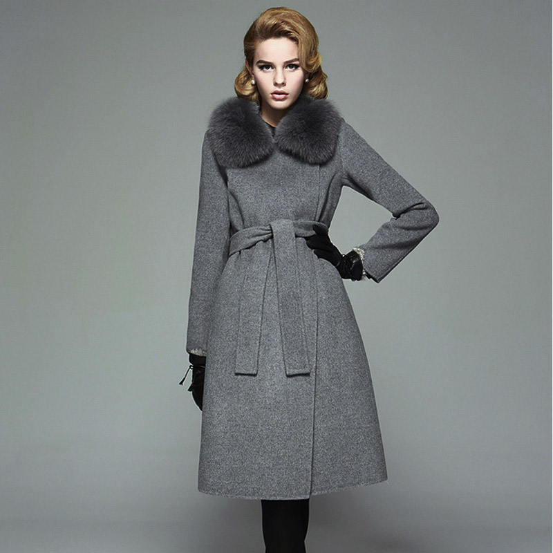 Belt Slim Fox fur collar womens winter jackets and coats wool ...