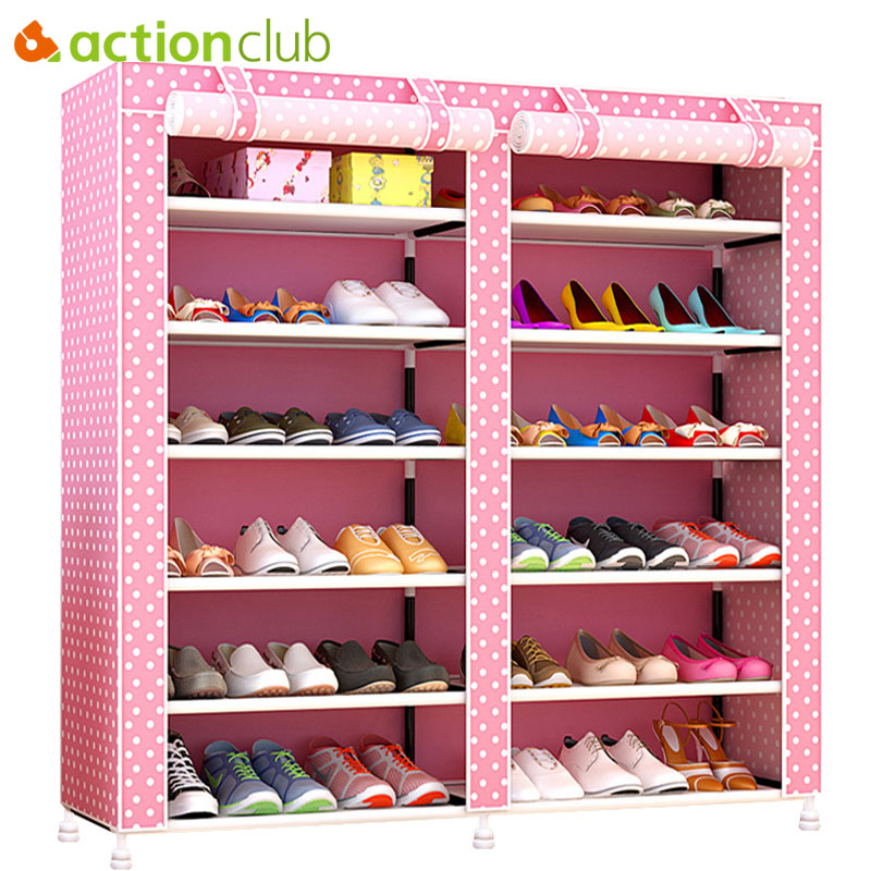 Actionclub Thick Non-woven Double Row Multi-layer Shoe Cabinet Shoe Rack Storage Shoe Organizer Shelves DIY Home Furniture