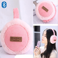 New Winter Warm Ear Muffs Unsix Earmuffs Bluetooth Headphone Headband Foldable Earphones Hamburger Plush Earmuffs For