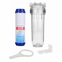 Reverse Osmosis Filter 10 Inch Clear Water Filter Bottle + Granular Carbon Filter + RO Wrench + Mounting Bracket + Quick Fitting