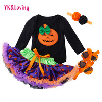 YK&Loving Princess Wear Infant Halloween Black Long Sleeved Skull Skirt Dress Newborn Baby Girl Clothes Infant Set Tutu Skirt