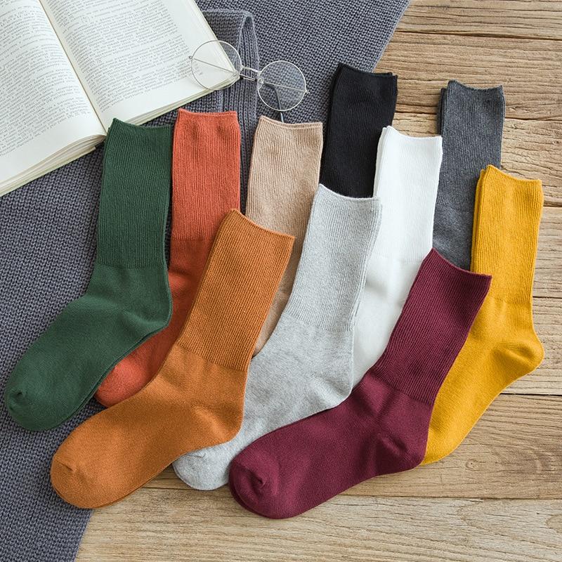 Autumn New Women's Harajuku Retro Colorful High Quality Fashion Cotton Color Casual Socks