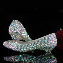 AB Rhinestone Pump -Wedding Shoes Bridal Heels Shoes, Luxury Closed Toes Bridal Heels Nightclub Dancing Shoes Party Prom Shoes