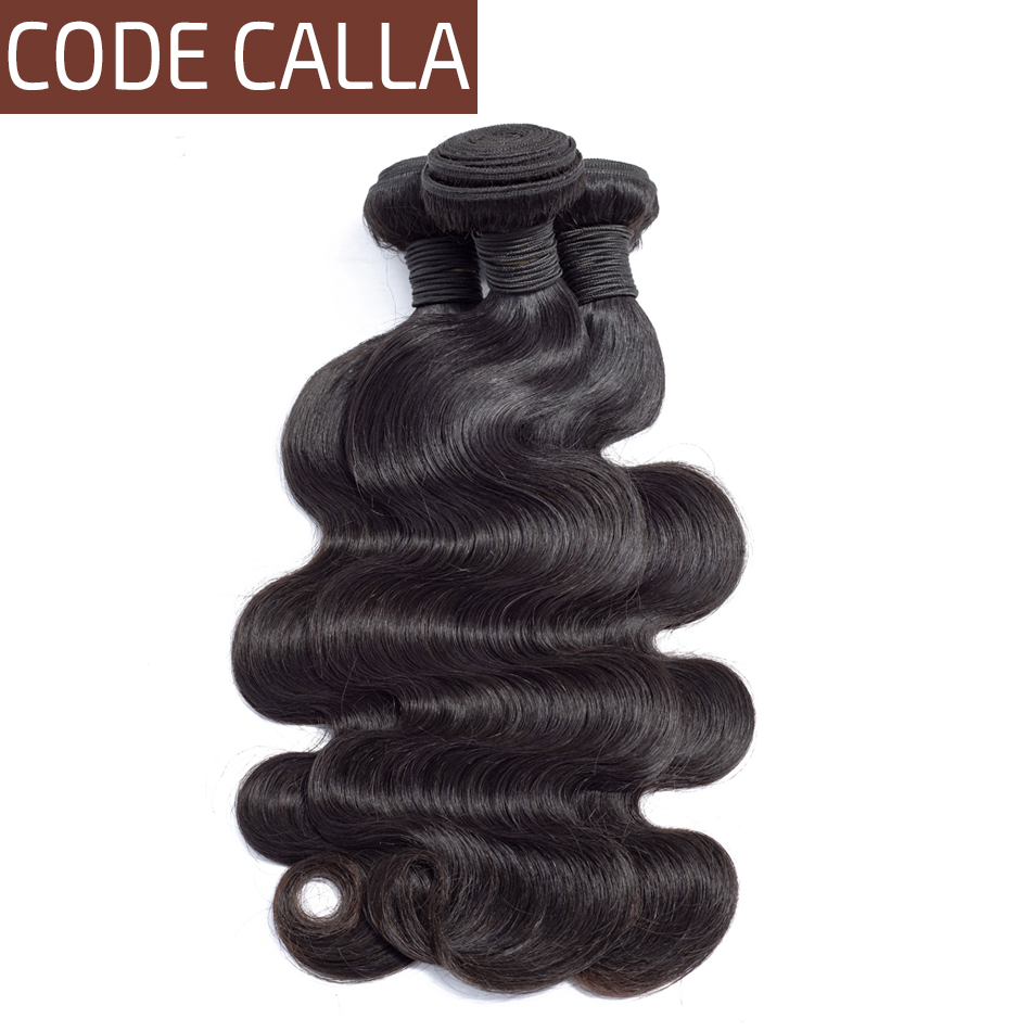 Code Calla Salon Hair Body Wave Indian Remy Human Hair Extension Weave Bundles Natural Black Black Color Weave Bundles For Women(China)