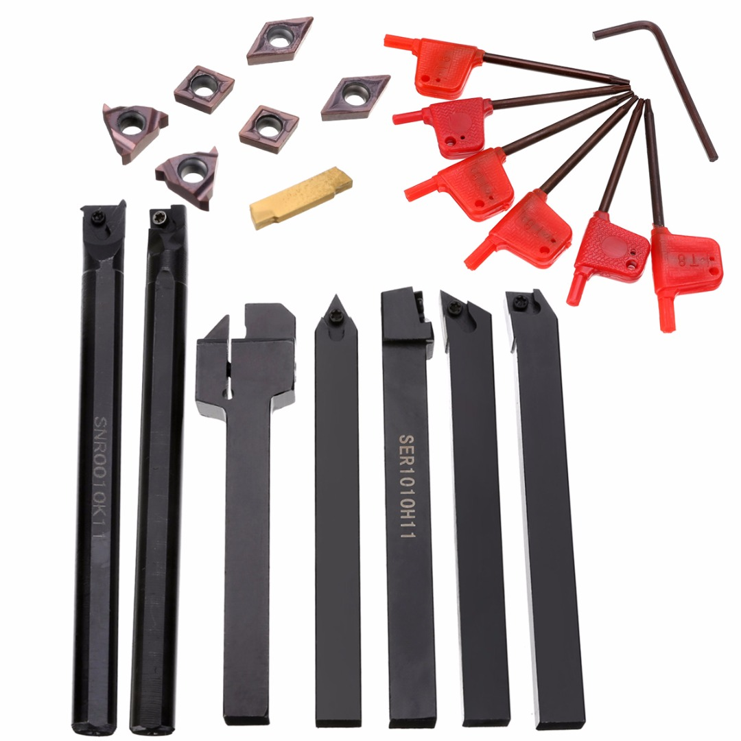 7pcs Good Precision Lathe Turning Tool Holder Boring Bar 10mm Shank + 7pcs Carbide PVD Inserts Blade Set + 7pcs Wrenches Mayitr ser1616h16 holder external thread turning tool boring bar holder with 10pcs 16er ag60 inserts