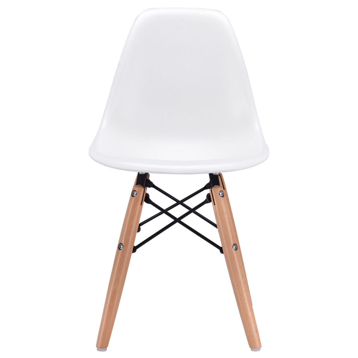 Giantex Kids Dining Side Armless Chair Modern Molded Plastic Seat Wood Legs  White Children Chairs Home Furniture HW56499WH In Children Chairs From  Furniture ...