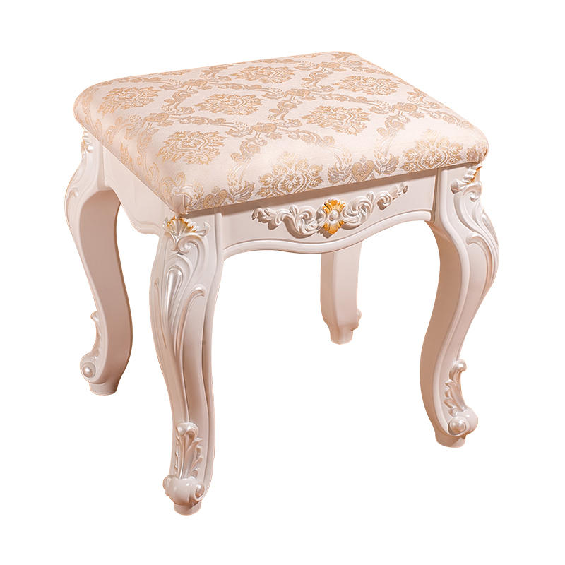 White French Makeup Stool Simple Modern European Dressing Table Stool Imitation Wood Nail Stool Bedroom Change Shoe Bench