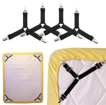 4 unids/set ajuste creativo sábana colchón Clips titular pinzas elásticas para ropa de cama hebilla soporte fijo clavijas negro blanco