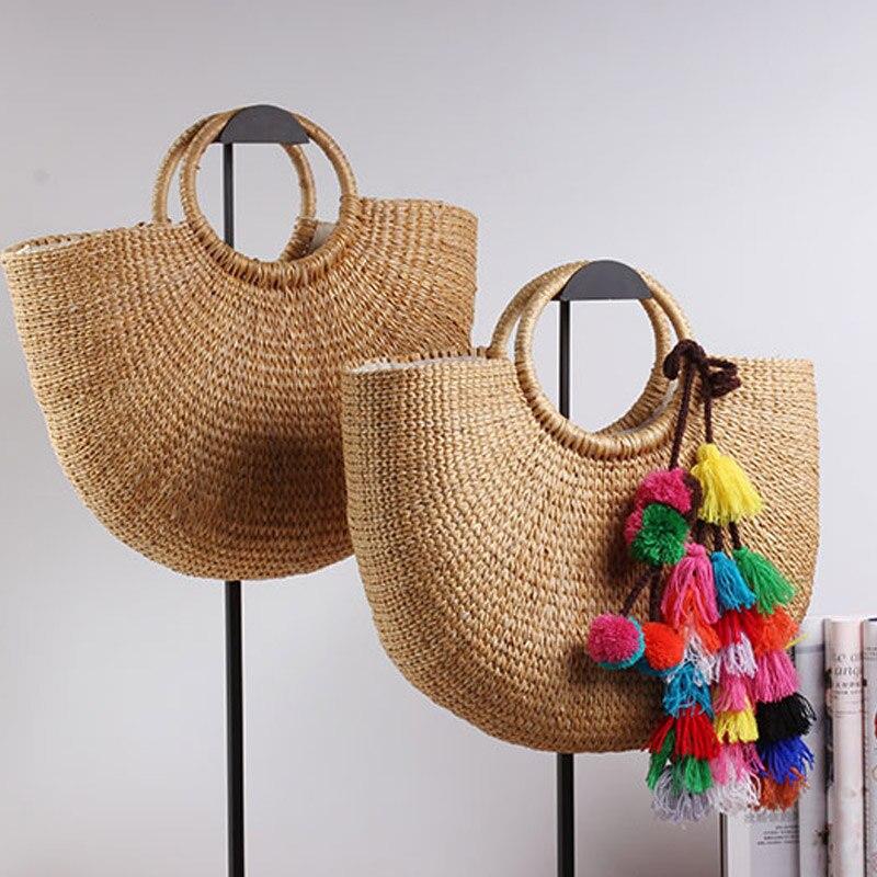 Сумка из ротанга с кисточками, пляжная сумка, соломенная сумка, сумка-ведро, летняя сумка с кисточками, женская сумка в оплетке, 2019