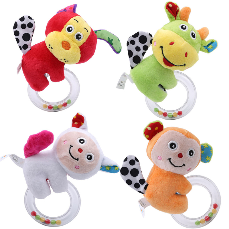 Cartoon Animal Holding A Ring Rattle Popular Toy Soft Sheep Dog Cattle Infants Plush Rattles Toys For Baby