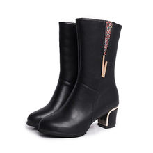 YOUYEDIAN Women's Ladies Square Heel Crystal Winter Snow Mid-Calf Martin Boots Shoes botas de mujer oto o invierno#3(China)