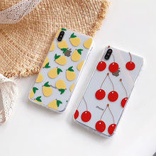 6S Red cherry case for iphone 7plus xs max summer cool fruit pear transparent soft candy cover iPhone 8 7 6 6s plus xr x