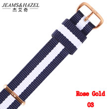 JH Top brand Quality lovers men women dw watch strap for daniel wellington 18mm 20mm nylon rose gold silver black bands unisex(China)