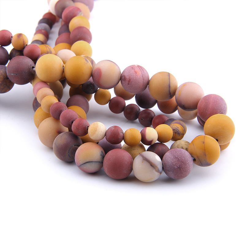 VINSWET 6 8 10 12mm Matte Gem Stone  Mookaite Egg Yolk  Stone bead spacer jewelry Beads For DIY Making Bracelet Necklace Jewelry