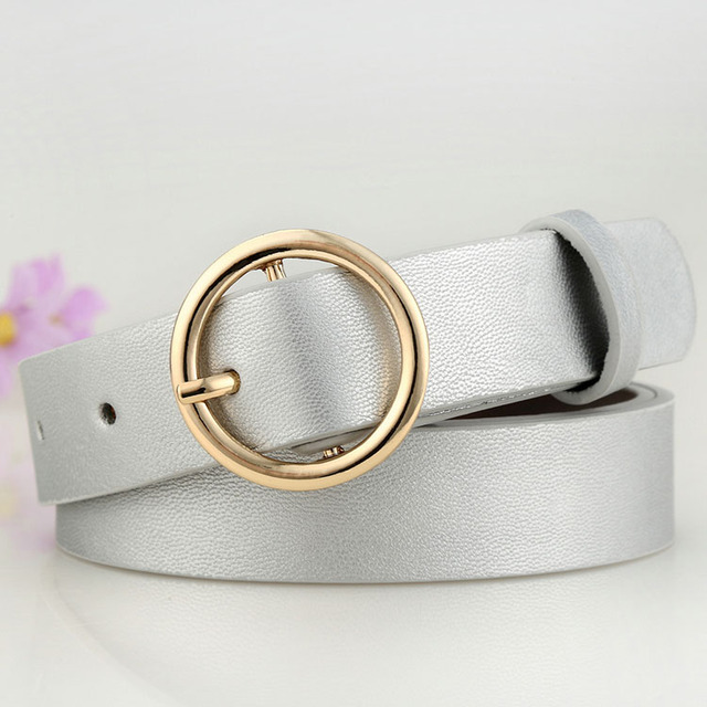 Badinka New Gold Round Metal Circle Belt Female Gold Silver Black White PU Leather Waist Belts for Women Jeans Pants Wholesale 4