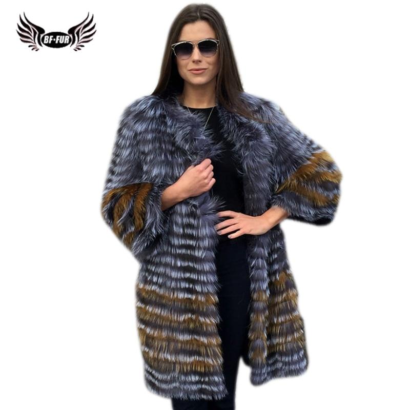 BFFUR Femmes Hiver Réel de Fourrure De Renard Manteau 2018 Nouveau mode Argent Veste De Fourrure Rayé Style Pardessus Femmes Naturel Renard fourrure Survêtement
