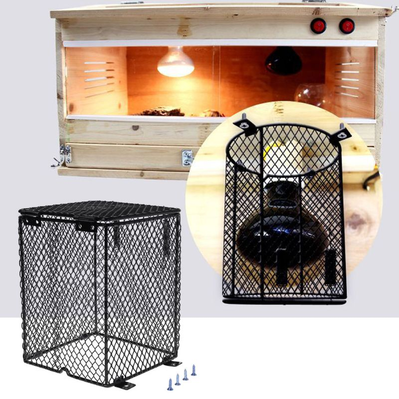 Reptile Heater Guard Heating Bulb Lamp Enclosure Cage Protector Metal Mesh Lamp Cover Metal Lampshade
