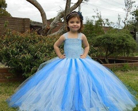 2 8T Children clothing Solid Dresses for girls Handmade custom Mesh Gauze Tutu Princess dress Performing