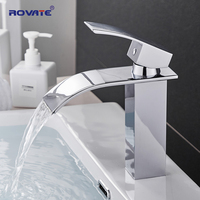ROVATE Bathroom Basin Faucet Waterfall Deck Mounted Cold and Hot Water Mixer Tap Brass Chrome Vanity Vessel Sink Crane