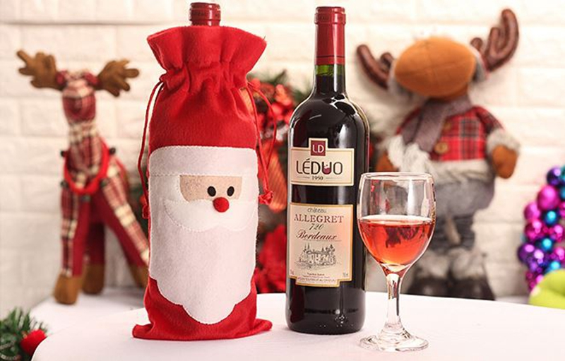 Kerst Tafel Decoratie : Gratis verzending groothandel rode wijnfles cover tassen kerst