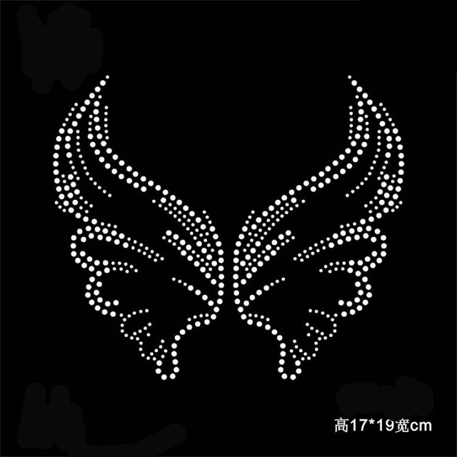 49b57799 2pc/lot Angel wings patches hot fix rhinestone transfer motifs iron on crystal  transfers design applique patches