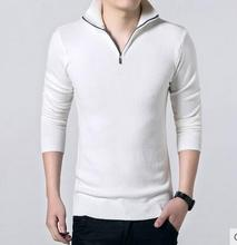 Winter hot sale Comfortable Thick Casual Knitted Solid color slim full keep warm Stand Collar Clothes Tops Men Fleece Sweater