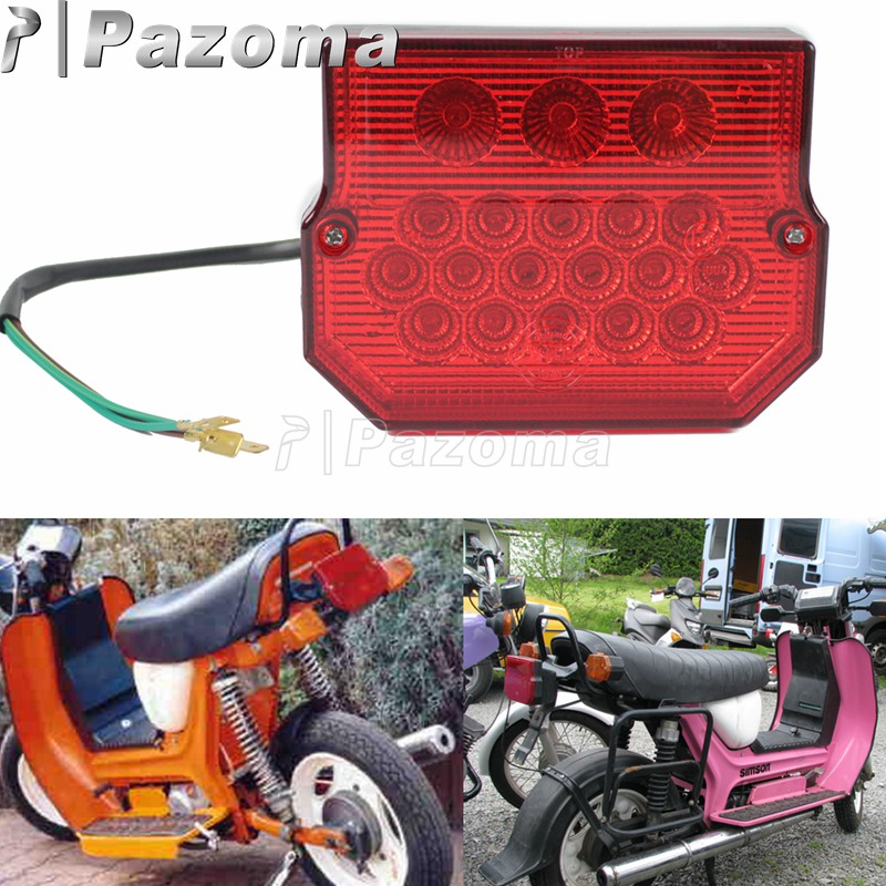 Motorcycle 22 LED Rear Red Taillight Integrated License Plate Light For MZ ETZ 150 250 251 Simson SR50 S51 Suzuki TS125 150 250