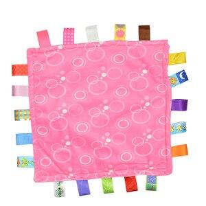 """Image 4 - 7 סגנון 30 ס""""מ תינוק מנחם Taggies שמיכת סופר רך כיכר קטיפה תינוק לפייס מגבת תינוק צעצועים"""