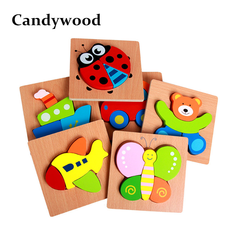Candywood 3D Wooden Puzzle Jigsaw High quality Beech Wooden toys for Children Cartoon Animal Puzzle Kids Educational Toys baby toys new cartoon 3d jigsaw puzzle building toys for children wooden traffic animal design kids toy