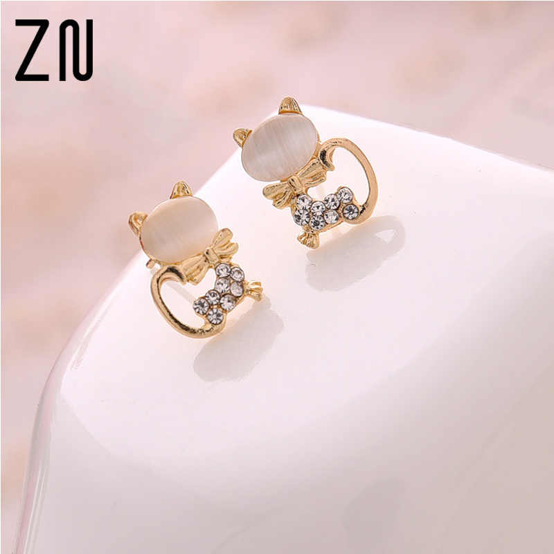 2017 New Fashion Fine Jewelry  Super Cute Sweet Fresh Opal Rhinestone Kitty Cat Stud Earrings For Women Girl