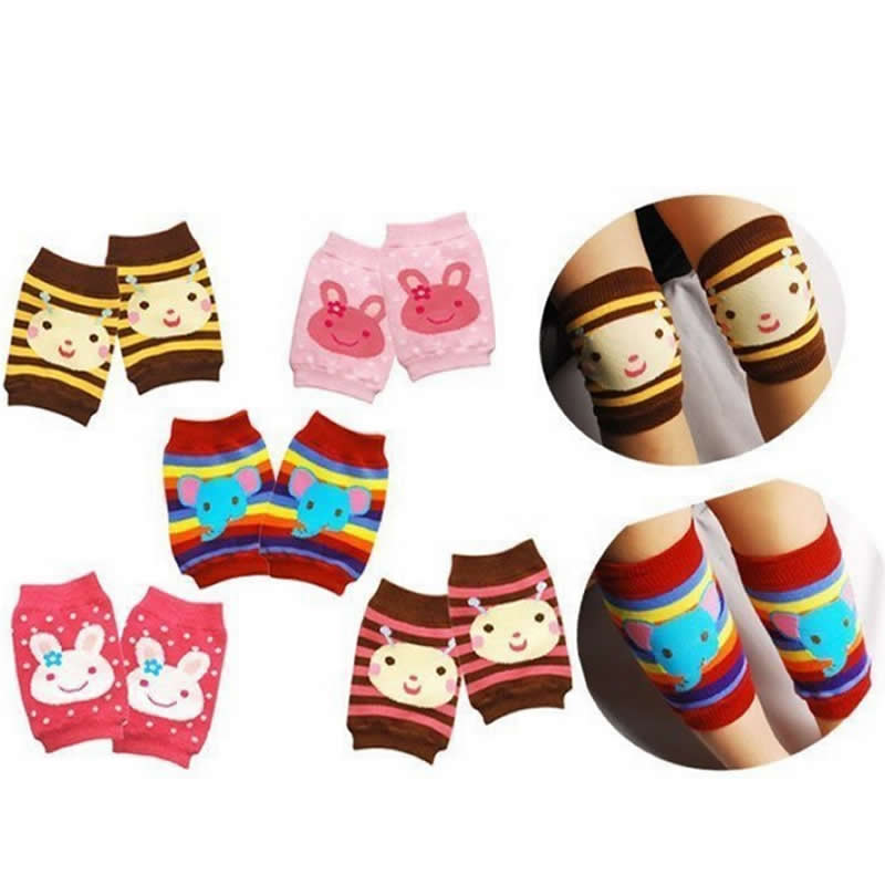 Kids knee Creep Socks Cartoon Baby Nursing Knee sets of children's Warm Socks / short knee Cotton Girls
